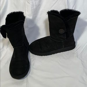 Uggs black short boots with button